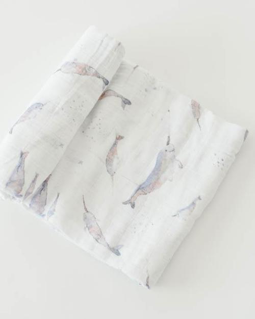Narwhal Muslin Swaddle Blanket