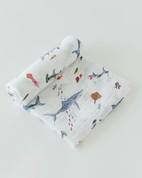 Shark Muslin Swaddle Blanket