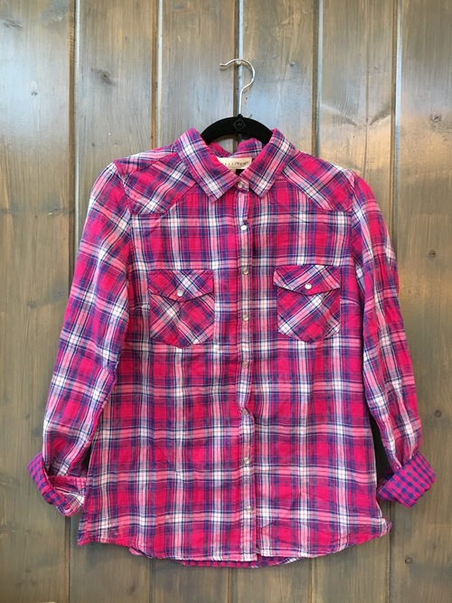 Pink And Navy Bleach Wash Long Sleeve