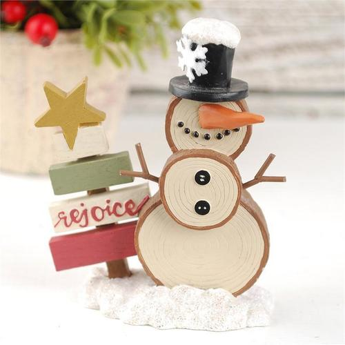Snowman with Rejoice Tree Figurine