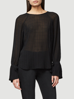 Voluminous Cuff Jacquard Blouse