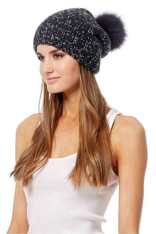 Ciara Cashmere Cap with Fox Pom