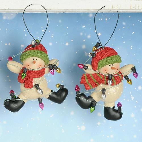 Dancing Snowman in Lights Ornament