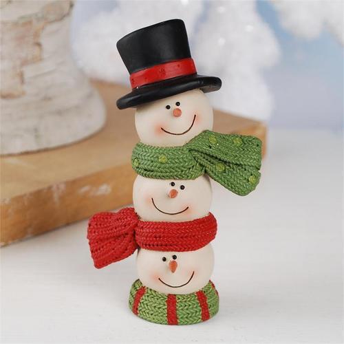 Three Stacked Snowman Heads Figurine