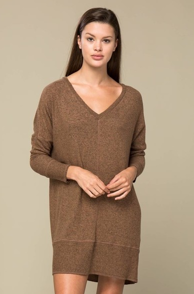 Brushed V-Neck Sweater Dress
