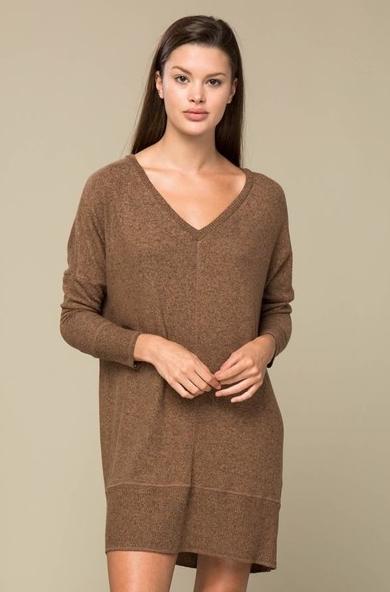 Brushed V-Neck Sweater Dress