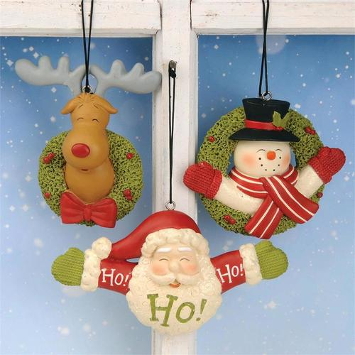 Deer Santa Snowman Ornament