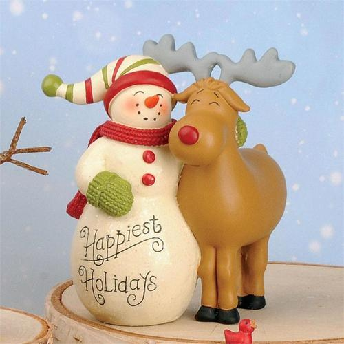 Happiest Holiday Snowman/Reindeer Figurine