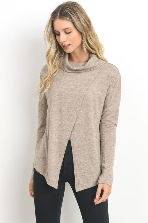 Wrap Front Cowl Neck Sweater
