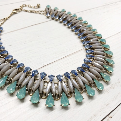 Grey Blue Mint Wide Glam Necklace