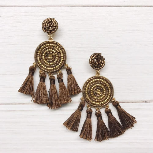 Beaded Dial Tassel Earring