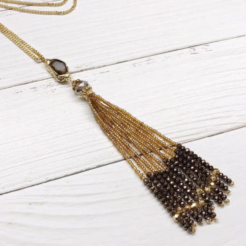 Long Agate Tassel Necklace
