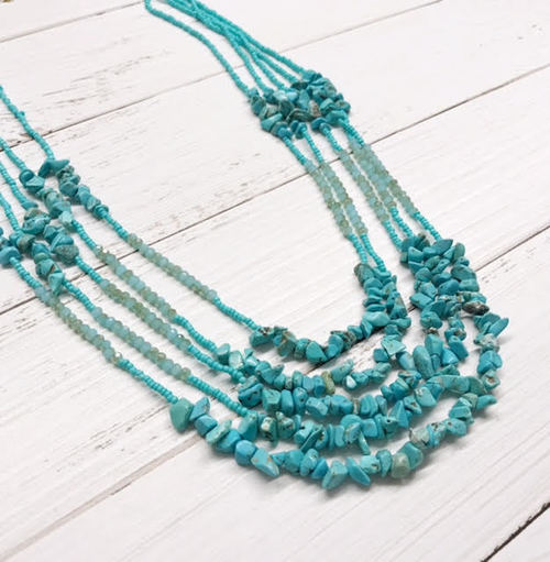 Layered Long Turquoise Beaded Necklace