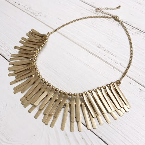Double Layer Gold Spike Bib Necklace