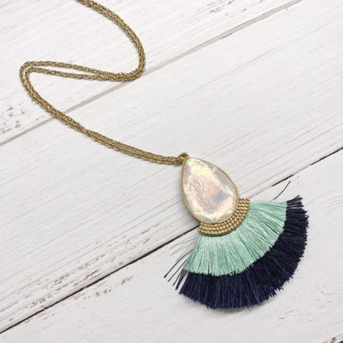 Iridescent Teardrop Tassel Necklace