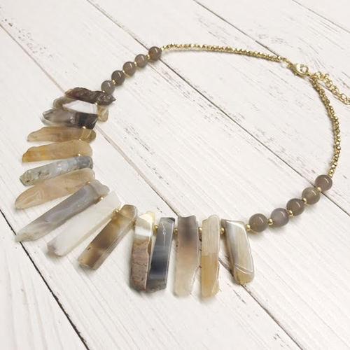 Spike Stone Beaded Bib Necklace