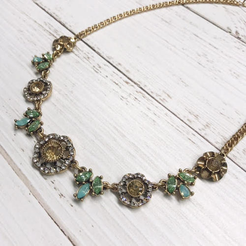 Gem Flower Small Bib Necklace