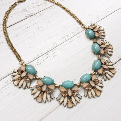 Turquoise Pastel Burst Bib Necklace