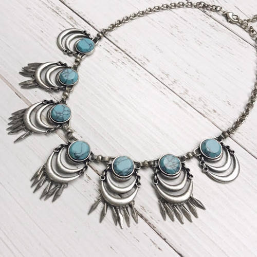 Crescent Charm Bib Necklace