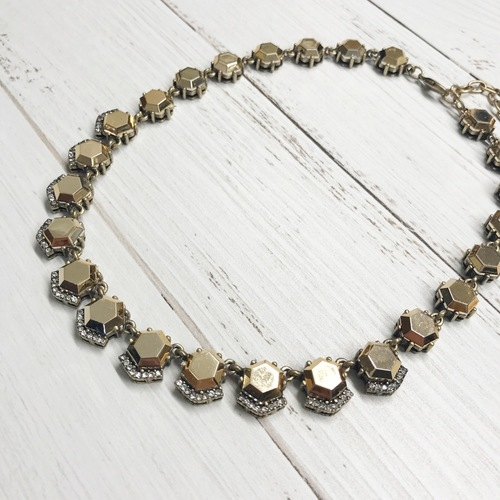 Bronze Hex Gem Bib Necklace