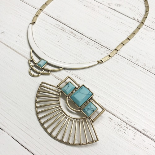 2 Way White Lacquer Turquoise Grecian Necklace