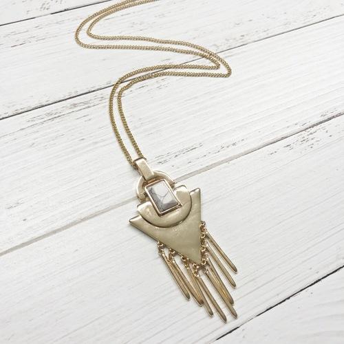 White Arrow Pendant Necklace