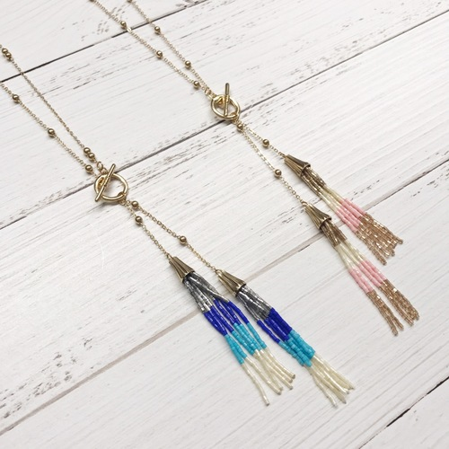 Toggle Double Tassel Necklace