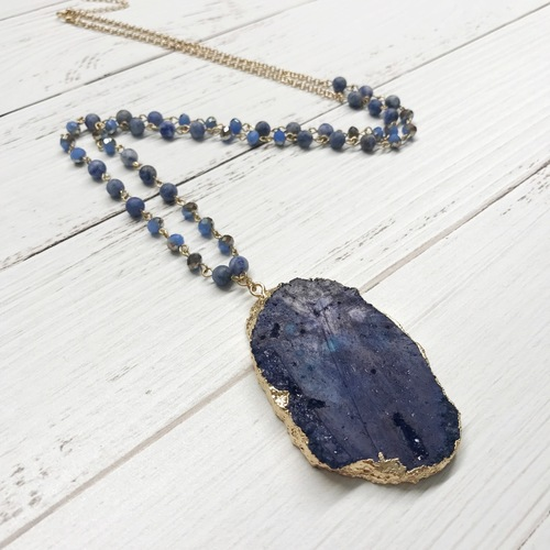 Stone Beaded Long Agate Necklace- Midnight Blue