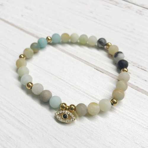 Mint Stone Stretch Bracelet w Evil Eye