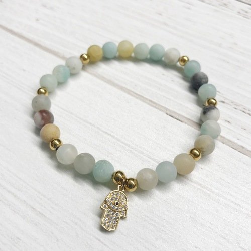 Mint Stone Stretch Bracelet w Hamsa