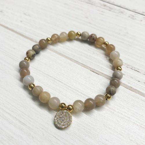 Nat Stone Stretch Bracelet w Pave Evil
