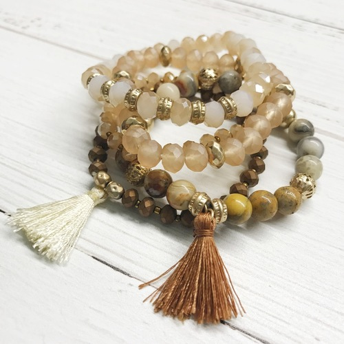 5 Strand Natural Bracelet Tassel Set