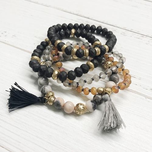 5 Strand Dark Bracelet Tassel Set