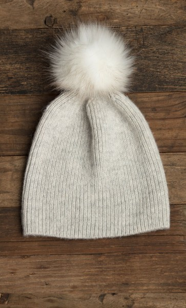 Flurry Hat w/ Fur Pom Oxford