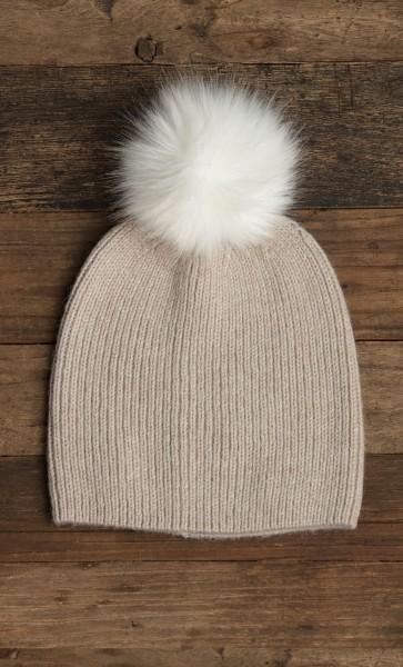 Flurry Hat w/ Fur Pom Truffle
