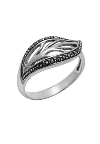 Marcasite Open Leaf Ring