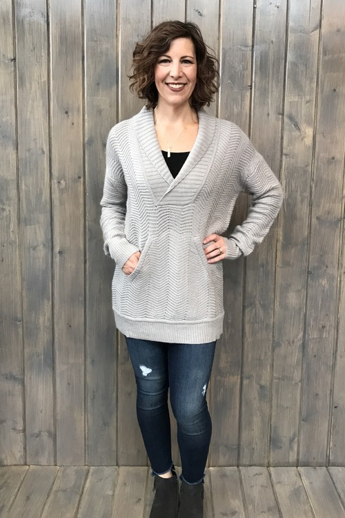 Chevron Pullover w/ Front Pocket Sweater