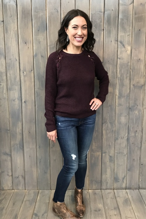 Plum Laced Shoulder Sweater