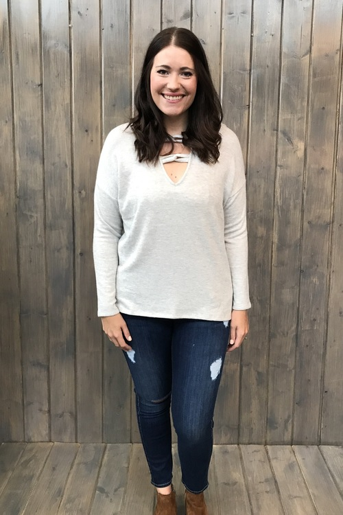 Carre Knot Neck Sweater Heather Grey