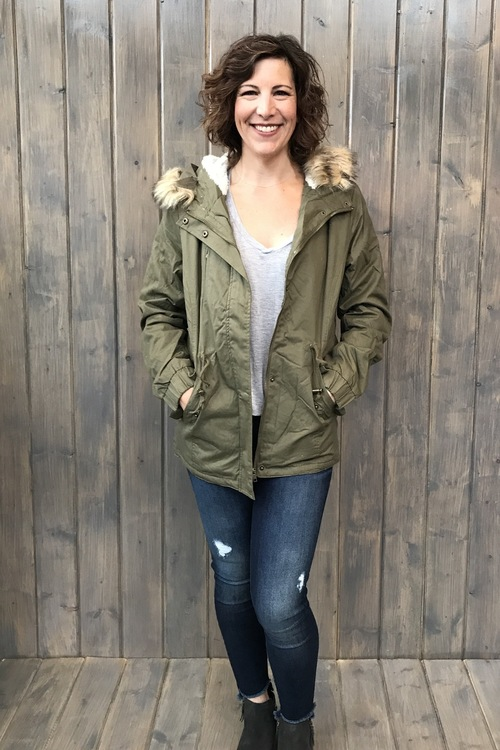 Olive Fur Lined Hooded Coat