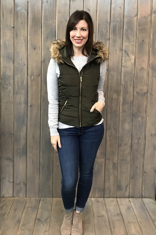 Dark Olive Fur Lined Vest