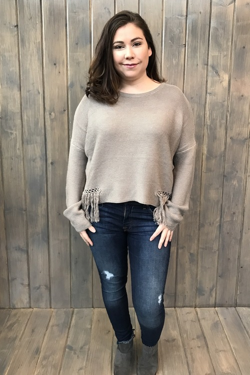Crochet Fringe Pullover Sweater