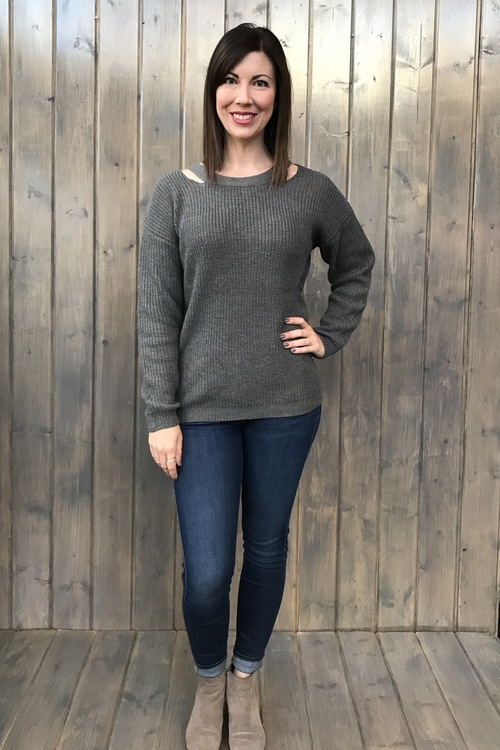 Heathered Neck Slit Sweater