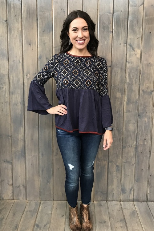 Bell Sleeve Mosaic Blouse