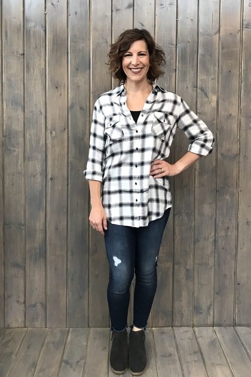 Sylvia Black Plaid Shirt
