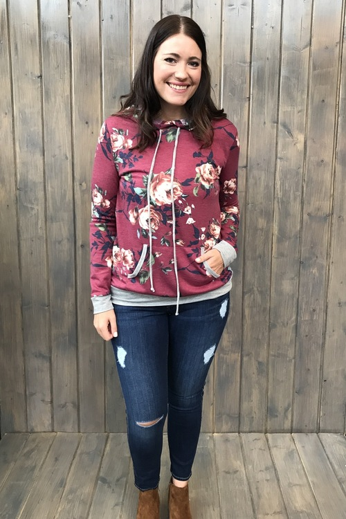 Floral Hooded Pullover