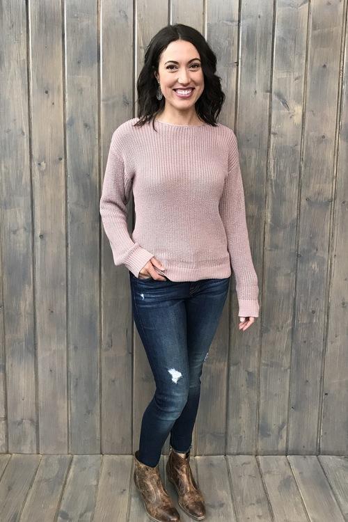 Laced Back Blush Sweater