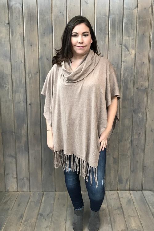 Fringed Poncho Sweater Heather Grain
