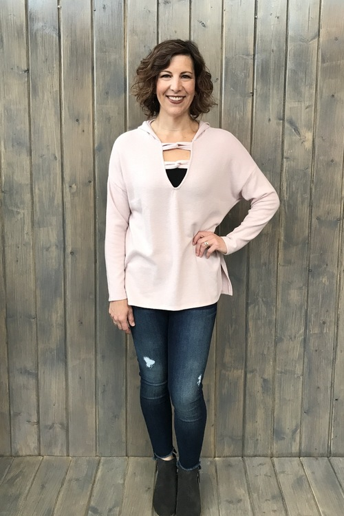 Carre Knot Neck Hoodie Shadow Pink