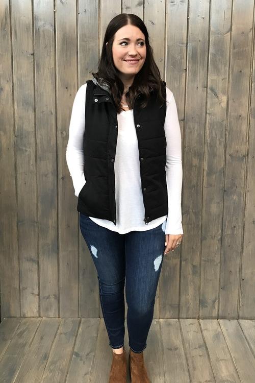 Black Jersey Lined Hooded Vest